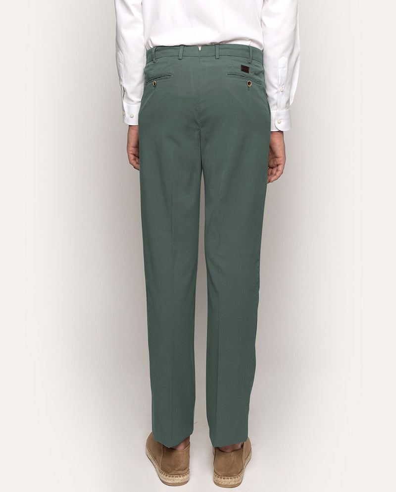 GREEN STRECH-TWILL CASUAL TROUSERS