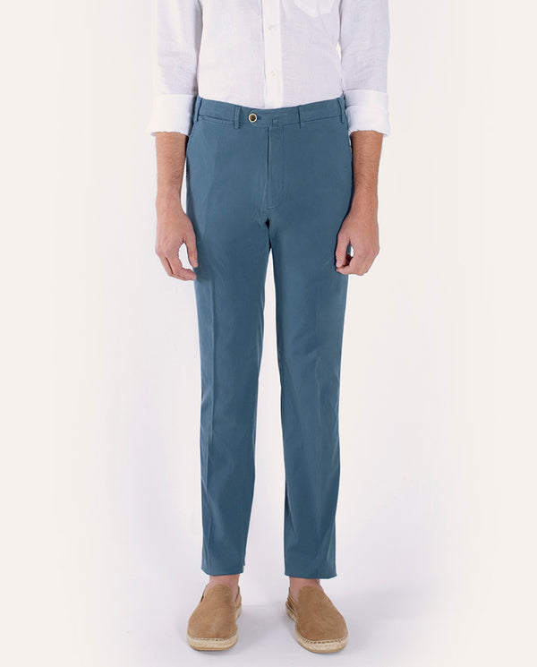 BLUE STRECH-TWILL CASUAL TROUSERS