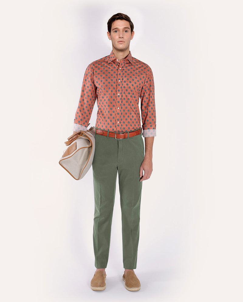 TEXURED STRECH-COTTON CASUAL TROUSERS