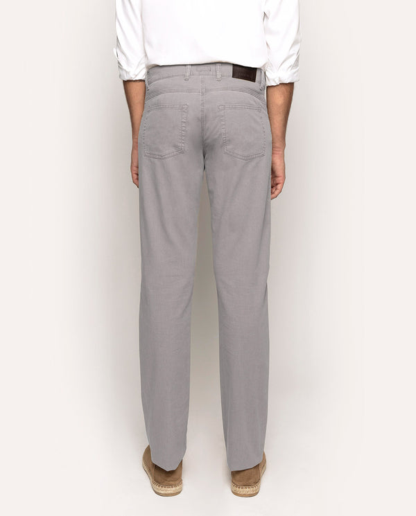 TEXTURED STRAIT-FIT 5-POCKET CASUAL TROUSERS