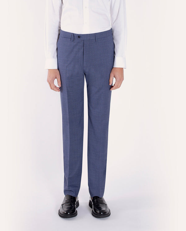 MICRO-CHECK LIGHT-BLUE WOOL TROUSERS