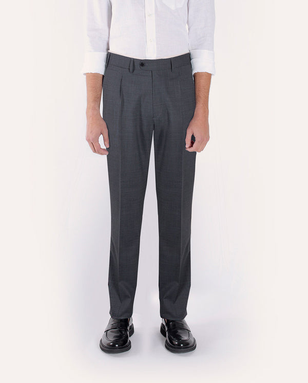 MICRO-CHECK GREY WOOL TROUSERS