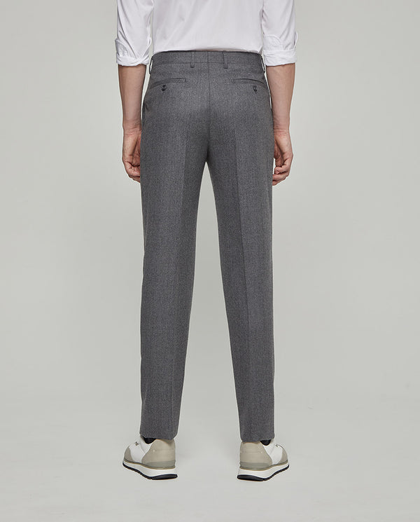 PEARL-GREY WOOL-FLANNEL TAILORED TROUSERS