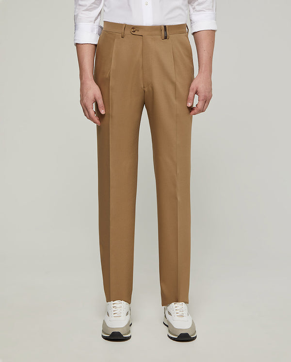 PANTALON VESTIR CON PLIEGUES BEIGE by MIRTO