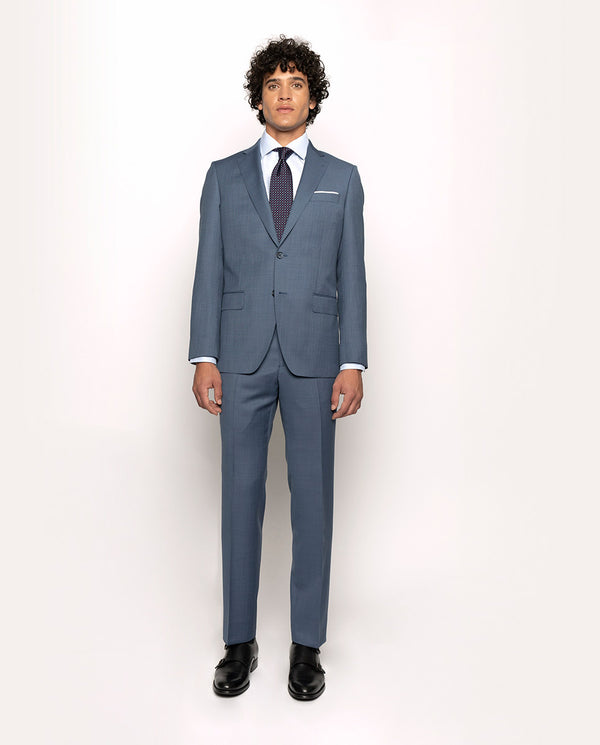 DEEP-BLUE SUPER 110`S TEXTURED-WOOL SUIT