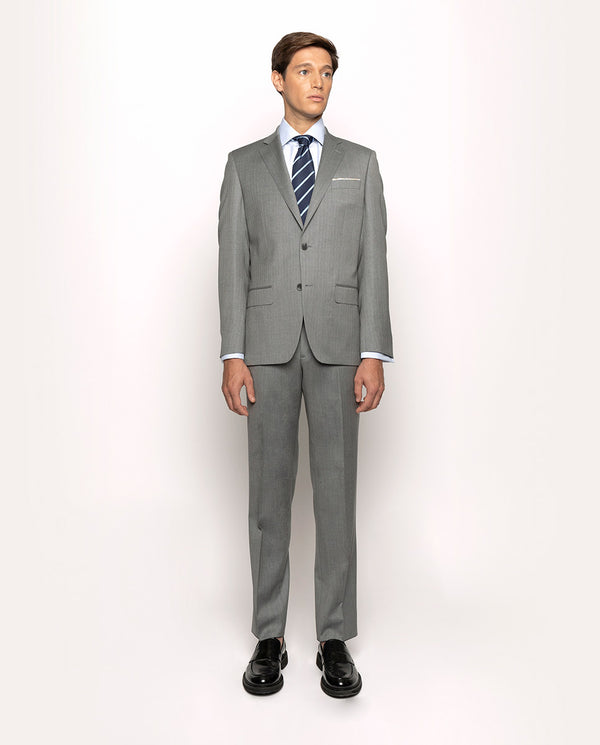 LIGHT-GREY HERRINGBONE SUPER 150'S WOOL SUIT