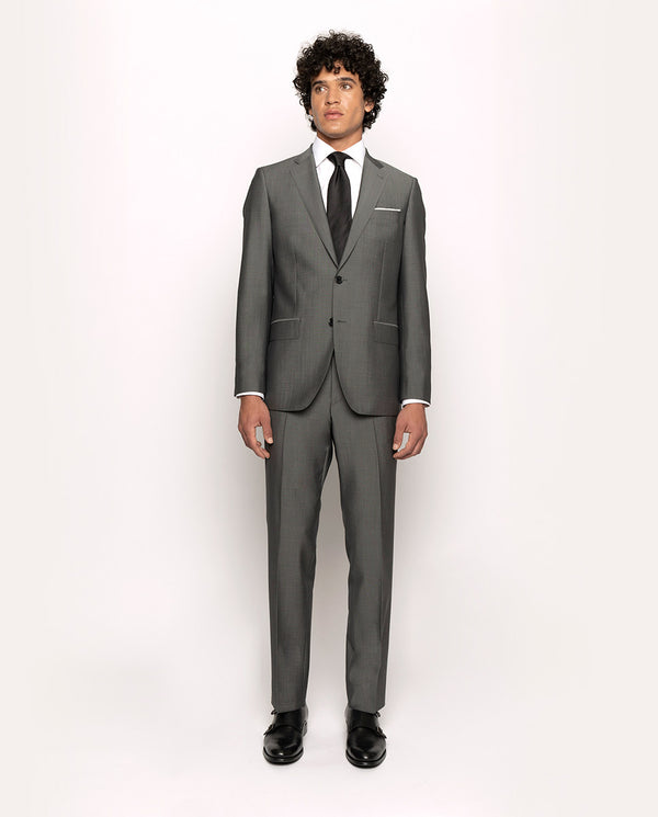 PEARL-GREY MOHAIR-WOOL BLEND SUIT