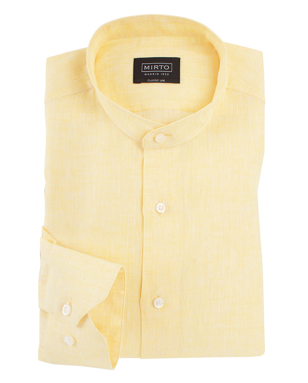 GRANDAD-COLLAR LINEN SHIRT by MIRTO