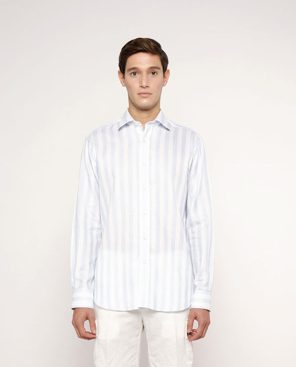 STRIPED COTTON-LINEN CASUAL SHIRT by MIRTO