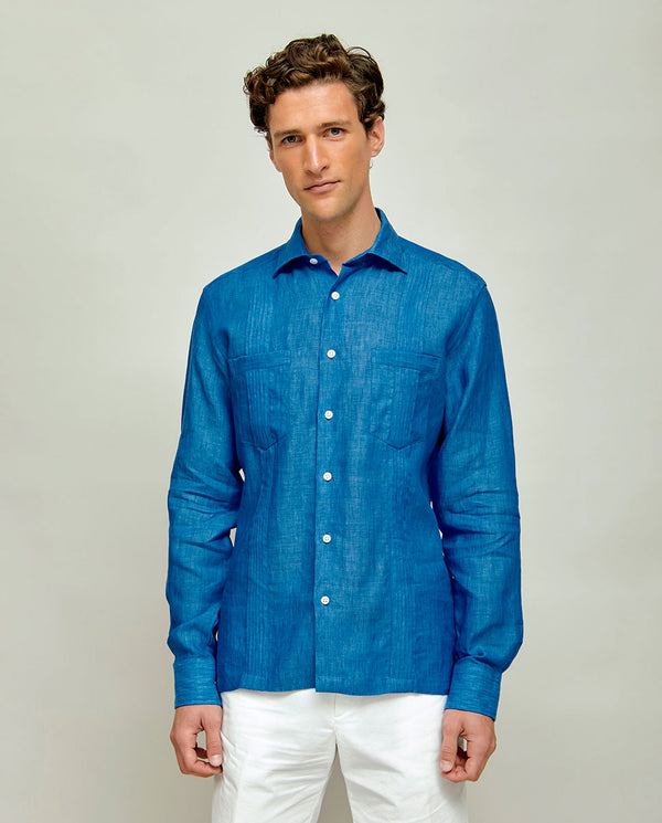 GUAYAMISA LINEN SHIRT WITH 2 POCKETS by MIRTO