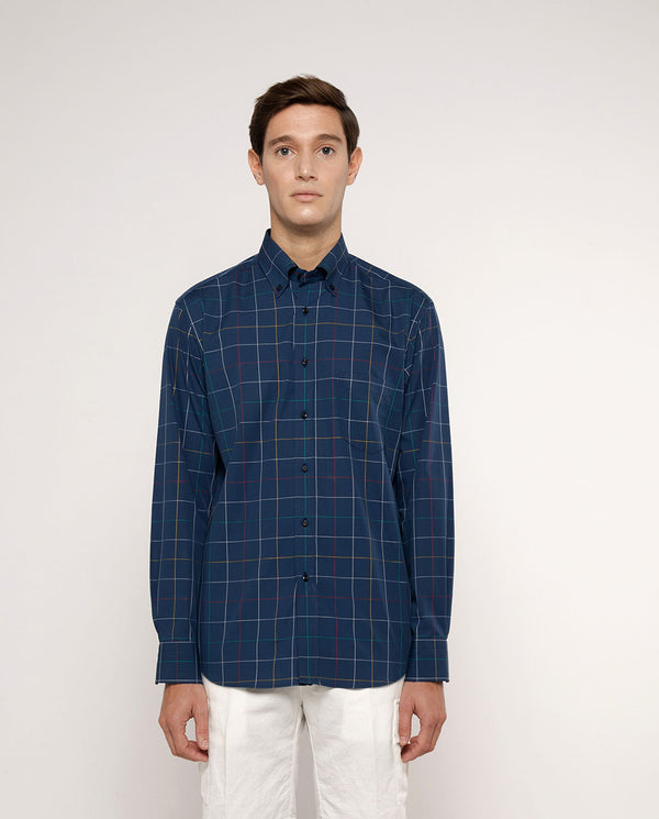 BUTTON-DOWN COLLAR CHECKED COTTON SHIRT by MIRTO