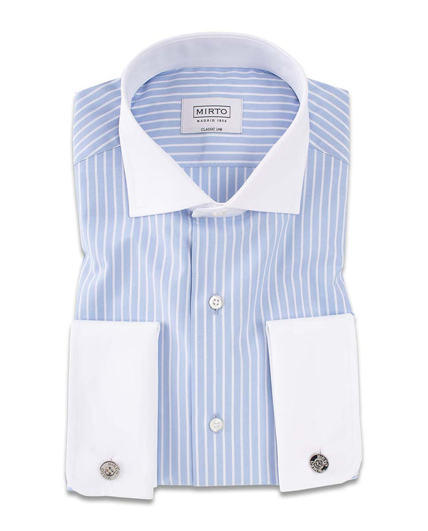 SPREAD WHITE COLLAR STRIPED DRESS SHIRT by MIRTO