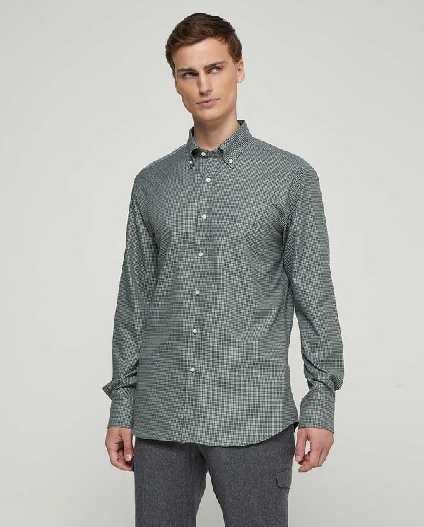 BUTTON-DOWN COLLAR CHECKED COTTON SHIRT