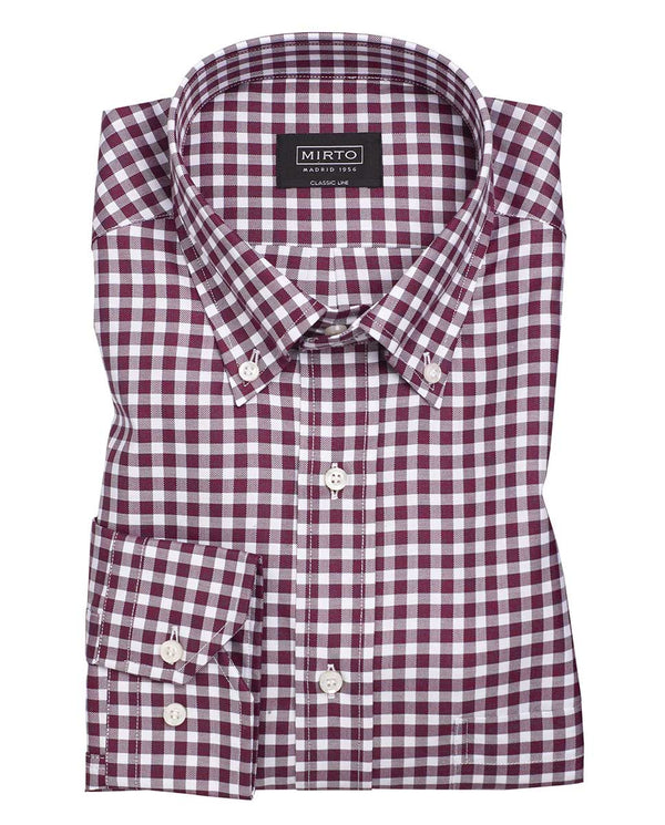 BUTTON-DOWN COLLAR VICHY CHECK COTTON SHIRT