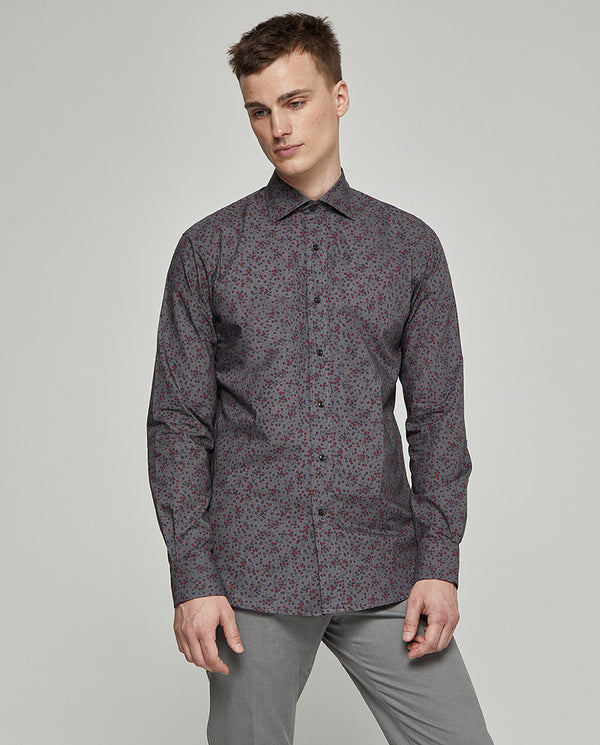 TAILORED-FIT CASUAL GREY PRINTED SHIRT