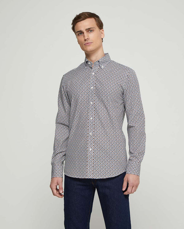 BUTTON-DOWN PRINTED COTTON SHIRT