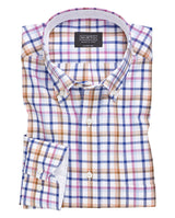 CAMISA CASUAL MANGA LARGA CUADROS CAMEL by MIRTO
