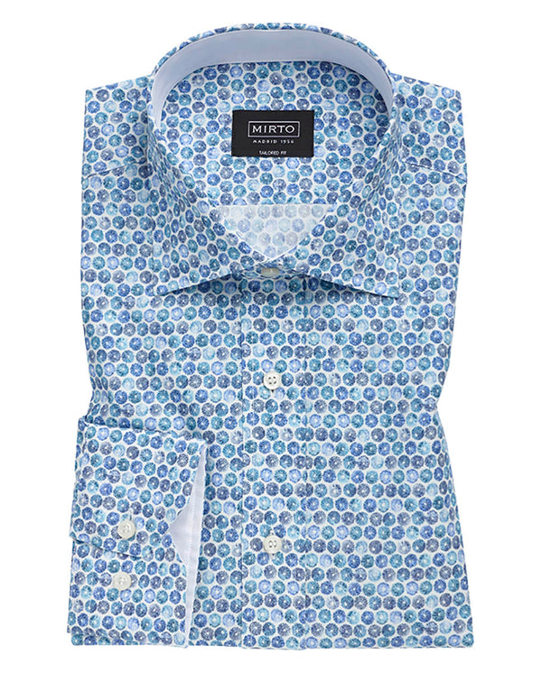 CAMISA CASUAL ESTAMPADO MANGA LARGA AZUL by MIRTO
