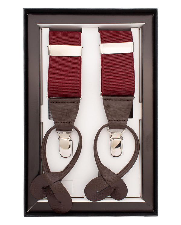BURGUNDY GARNET CLIP & BUTTON BRACES