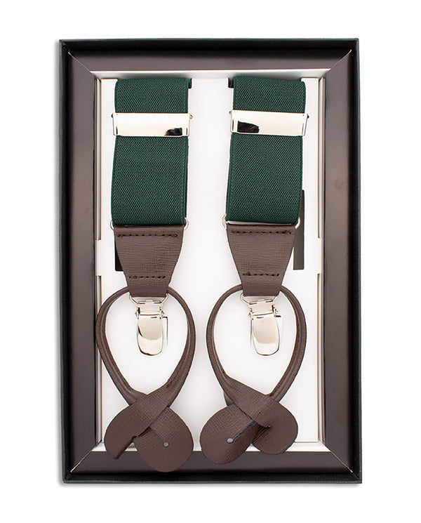 GREEN CLIP & BUTTON SUSPENDERS