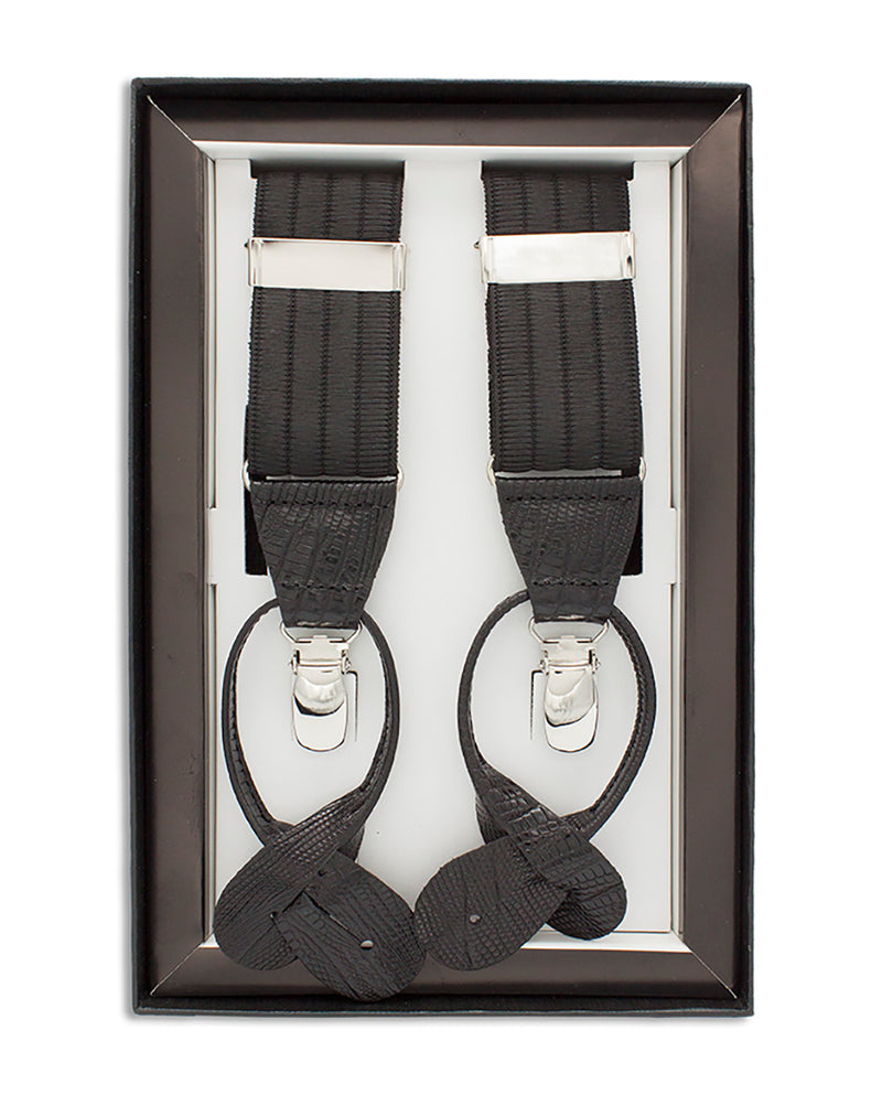 BLACK LEATHER-TRIMMED WOOL-FELT BRACES