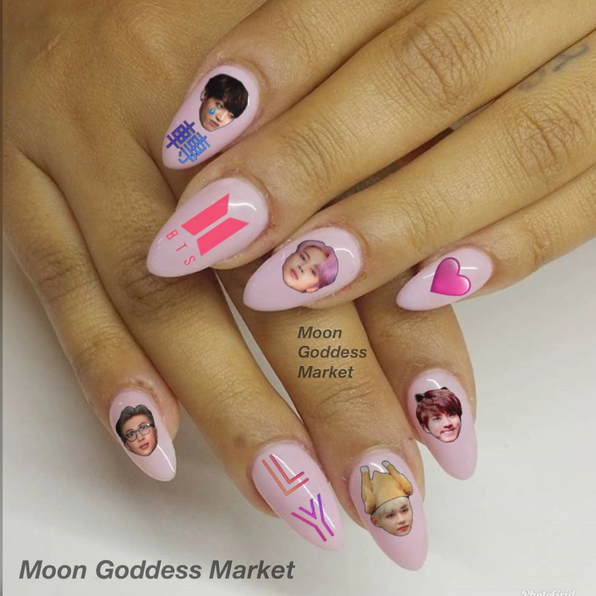 BTS Bangtan Sonyeondan 방탄소년단 Nail Decals Waterslide Decals - Moon Goddess Market