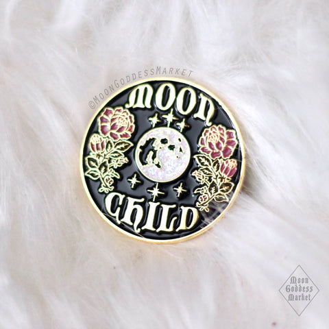 Moon Child Lapel Pin Moonchild Copyright Moon Goddess Market - Moon Goddess Market