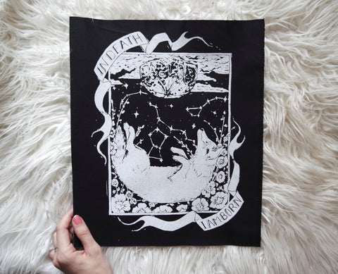 Original Hand carved Block Print sew-on back patch in Black Canvas by MoonGoddessMarket® - Moon Goddess Market