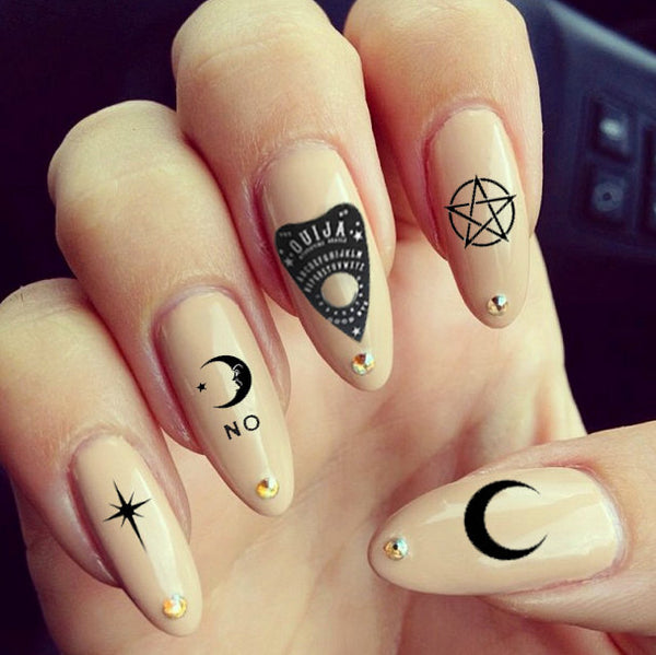 30 pagan Ouija Nail Decals Waterslide Type Mystical Magickal Nails - Moon Goddess Market