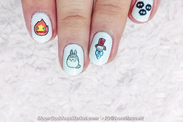 36 Studio Ghibli Nail Decals | Water Slide | Easy & Fun - Moon Goddess Market