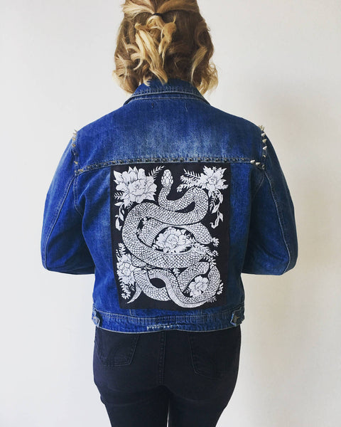 Original Hand carved Block Print sew-on back patch by MoonGoddessMarket® - Moon Goddess Market