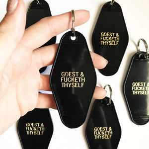 Hotel Motel Key Chain | Sassy | Gift | Black and Gold Goest and fucketh thyself - Moon Goddess Market