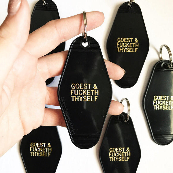 Hotel Motel Key Chain Black and Gold Goest and fucketh thyself - Moon Goddess Market