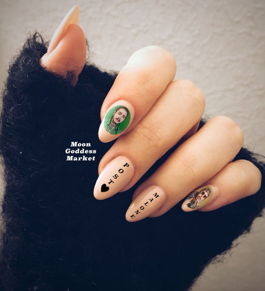 Post Malone Nail Decals Waterslide Decals by Moon Goddess Market - Moon Goddess Market