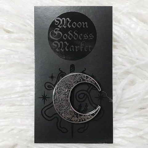 Rose Moon Lapel Pin | Moon Goddess Market Original | Pins for your stuff | Lapel Pin Witchy Occult - Moon Goddess Market