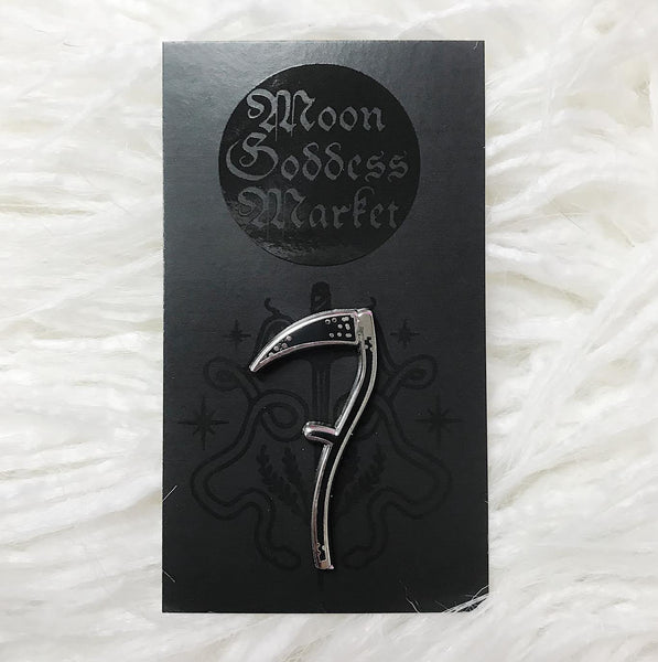 Scythe Lapel Pin | Pagan | Witchy | Moon Goddess Market pins - Moon Goddess Market