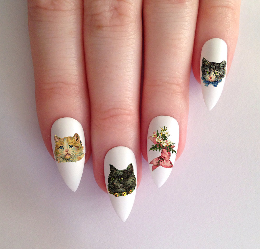 36 Adorable Vintage Kitty Cats and Flower Nail Decals Waterslide - Moon Goddess Market