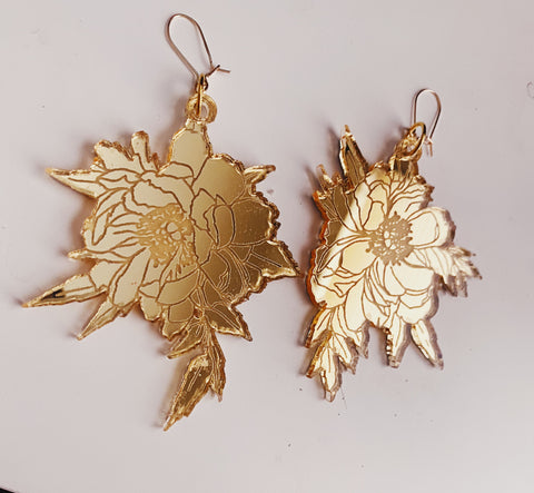 Floral Mirrored Earrings 14k Gold Filled - Moon Goddess Market