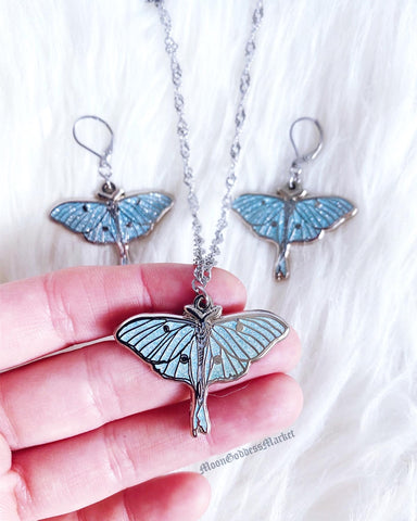 Luna Moth Glitter Set Surgical Steel
