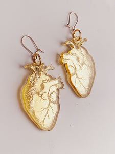 Real Heart Mirrored Earrings 14k Gold Filled - Moon Goddess Market