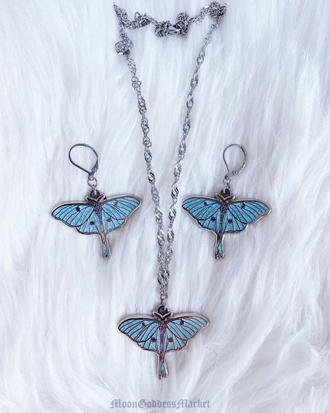 Luna Moth Glitter Necklace Surgical Steel