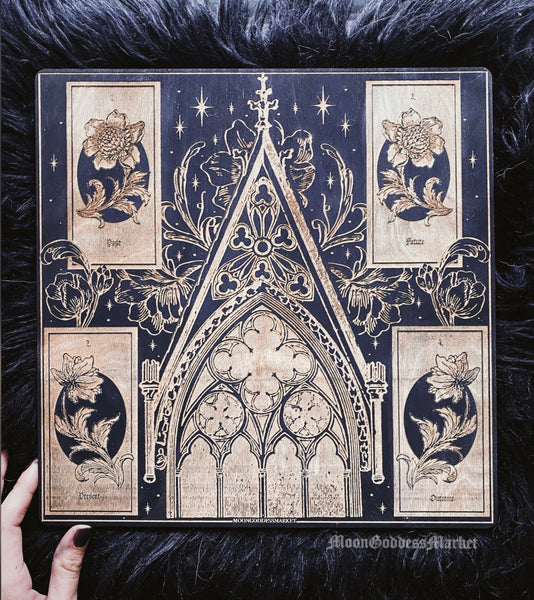 Gothic Church Four Card Spread board by Moon Goddess Market - Moon Goddess Market