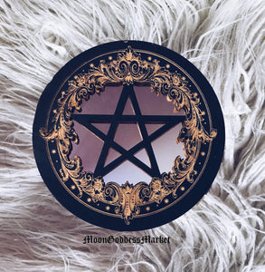 "7"" Black Pentacle Mirror by Moon Goddess Market - Moon Goddess Market"