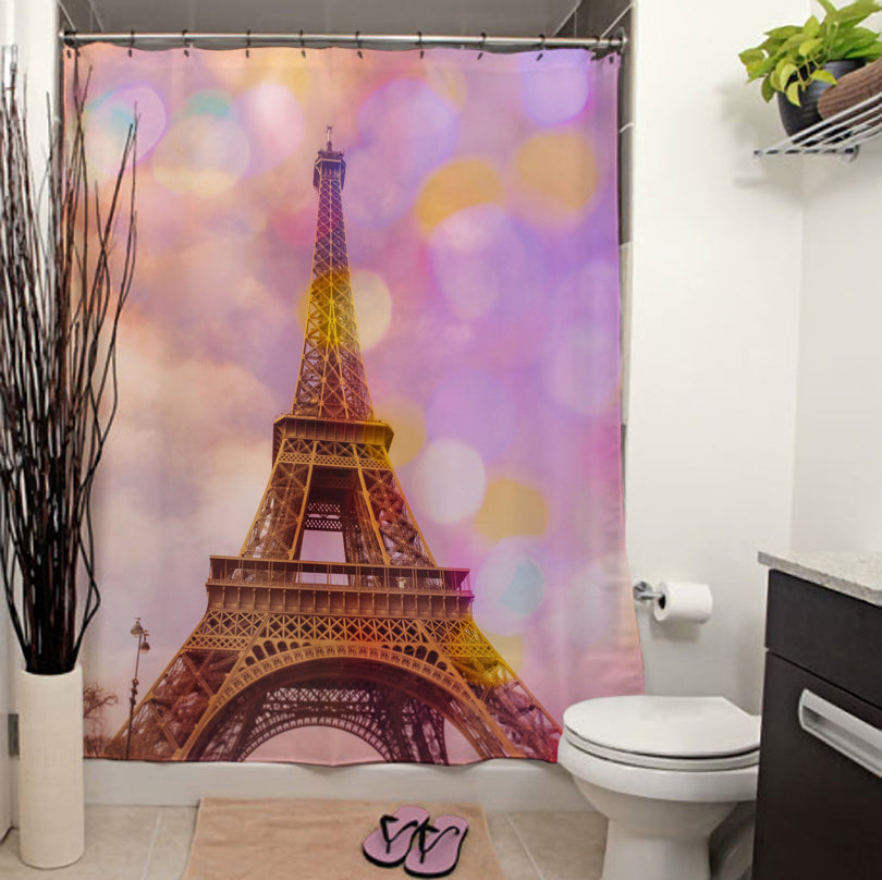 Eiffel Tower Sunset Shower Curtain