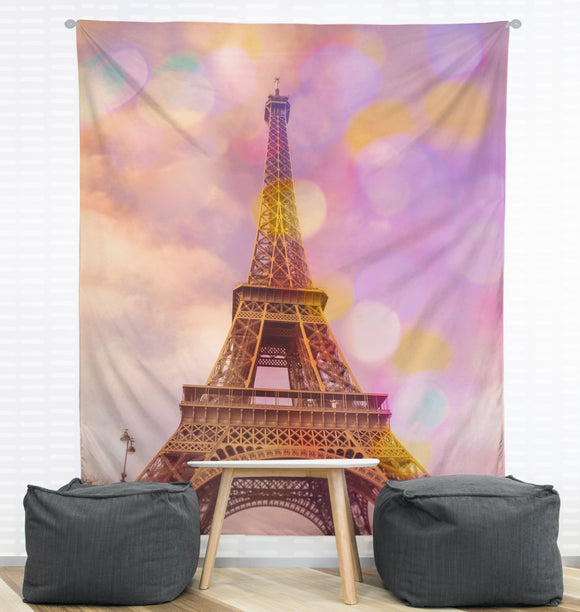 Eiffel Tower Sunset Wall Tapestry
