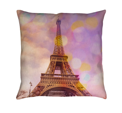 Eiffel Tower Sunset Throw Pillow