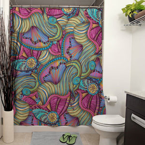 Mermaid Seashells Pattern Shower Curtain