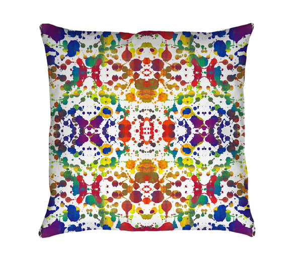 Rainbow Splash Throw Pillow