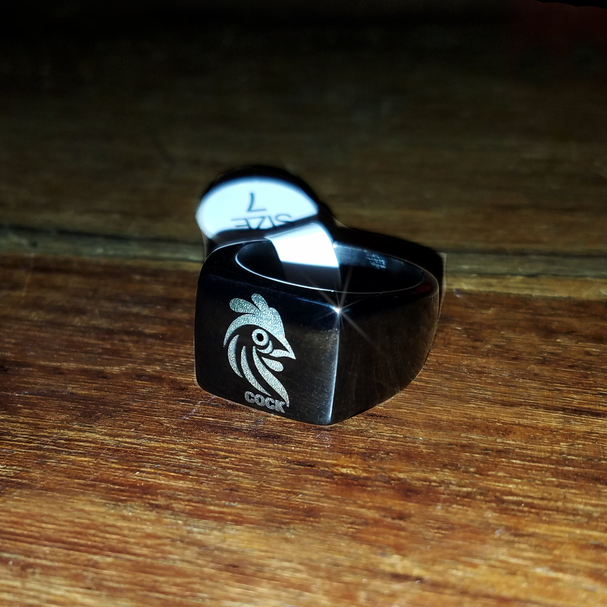 Cock brand Engraved ring