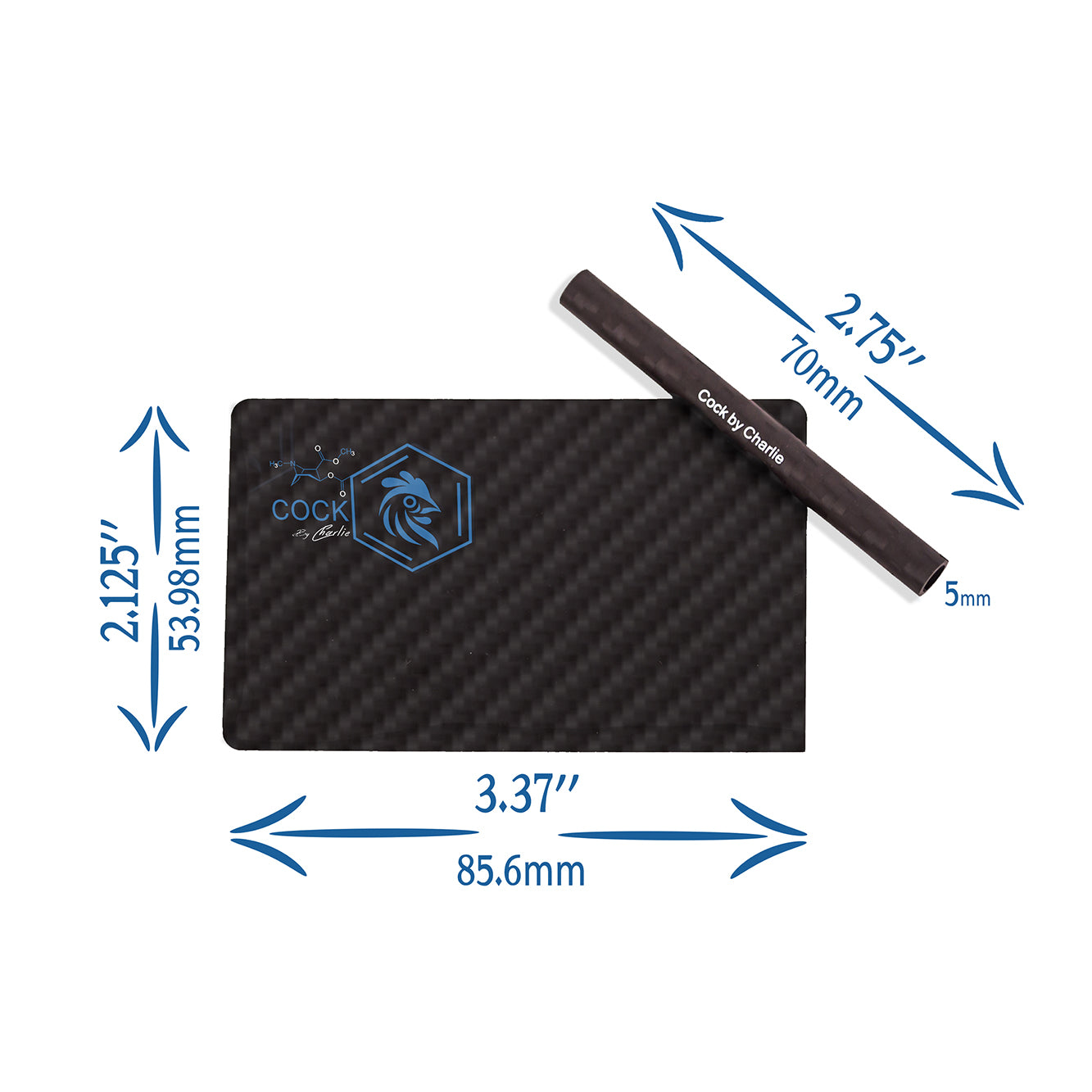 Carbon fiber cutting card and straw sizes